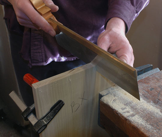 sawing dovetails